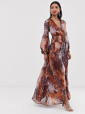 87e7769c523a Asos maxi dress with smocking detail in mixed animal print - Multi