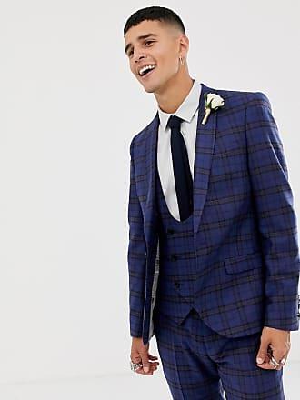 Twisted Tailor Giacca da abito super skinny in lana a quadri scozzesi blu