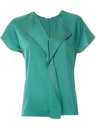 HUGO BOSS Blusa de seda com babados - Verde