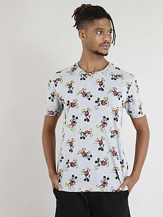 Disney Camiseta Masculina Mickey Mouse Estampada Manga Curta Cinza Mescla