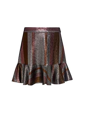Derek Lam Lurex Flounce Ruffled Mini Skirt Silver Multi