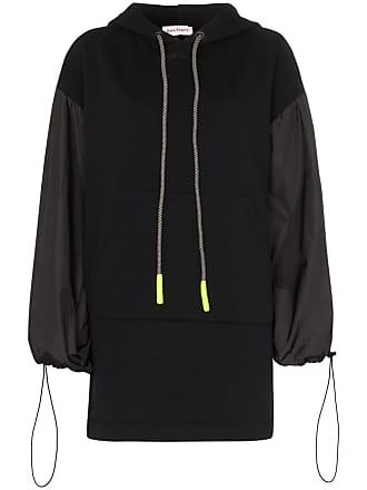 Palm Angels balloon sleeve cotton hoodie dress - Black