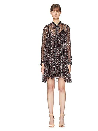 5ca97195336c The Kooples Long Sleeve Button Up Dress with a Silk Muslin Ascot (Black)  Womens