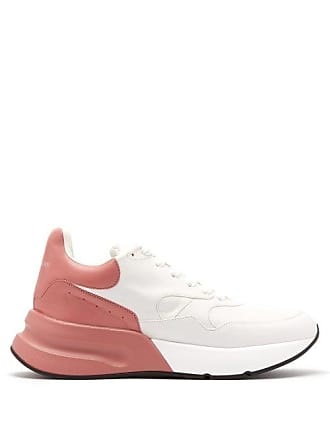 Alexander McQueen Alexander Mcqueen - Runner Raised Sole Low Top Leather Trainers - Womens - Pink White