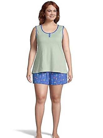 One Hanes Place Goodnight Kiss Sleep Short Set Blue Flamingo XL