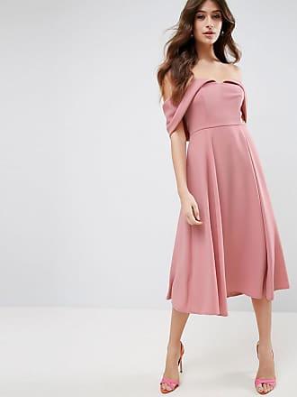 Asos ASOS Bardot Fold Over Midi Prom Dress - Beige