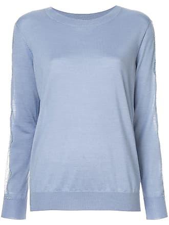Nina Ricci Blusa de tricô com recorte em renda - Azul
