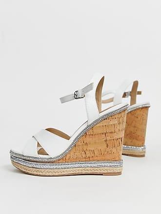 dbcdbcaef01 Dune London Head Over Heels - Maissie - Vita sandaler med hög kilklack i  kork och