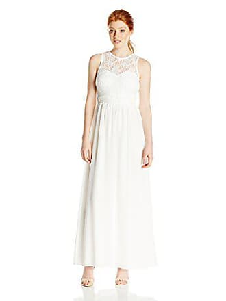Speechless Juniors Lace/Sheer Matte Illusion Long Prom Dress, Ivory, 7