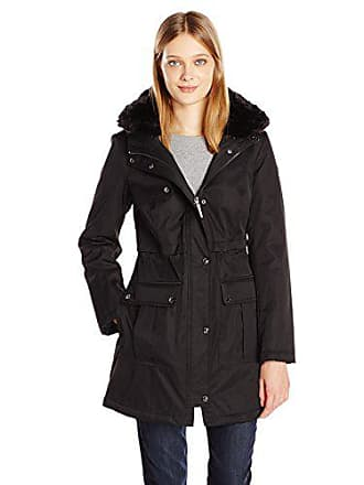 Kensie Womens Bonded Parka Jacket with Adjustable Waist Removable Faux Fur Collar, Black, S
