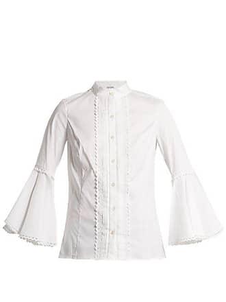 b9e3782463ee5a Oscar De La Renta Rickrack Trimmed Cotton Blend Blouse - Womens - White