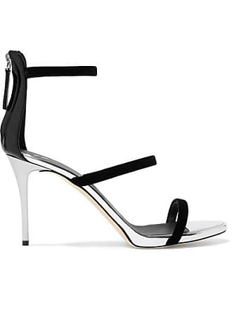 f568f529b8e Giuseppe Zanotti Alien Metallic Leather And Velvet Sandals - Silver