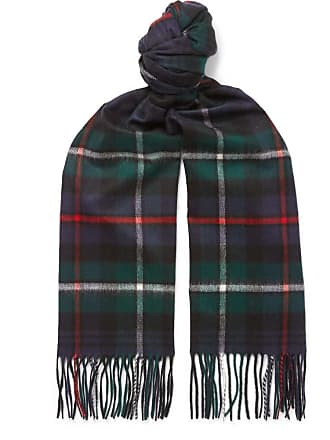 Johnstons of Elgin Fringed Checked Cashmere Scarf - Green