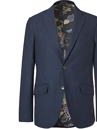 Etro Navy Cotton-jacquard Blazer - Navy