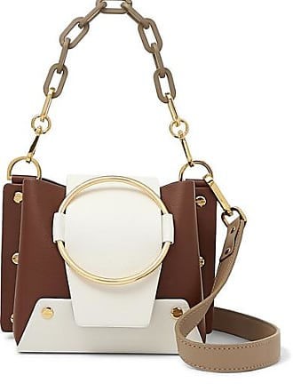 Yuzefi Delila Mini Color-block Textured-leather Shoulder Bag - Brown