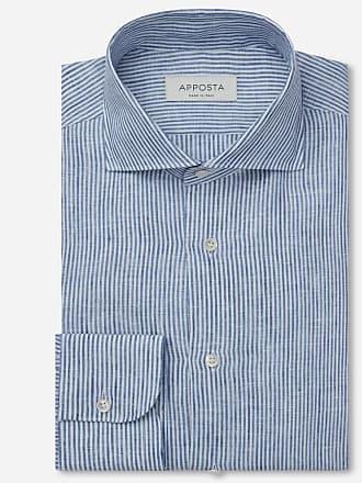 Apposta Camicia righe blu lino zephir lino normandia, collo stile francese punte corte