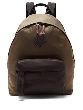 Moncler Contrast Panel Logo Appliqué Backpack - Mens - Khaki
