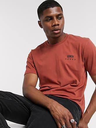 Edwin T-shirt color rame con scritta del logo-Rosso