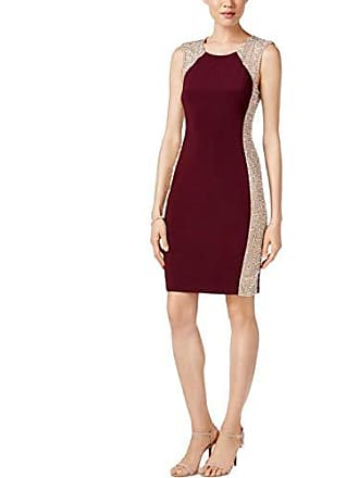 Xscape Womens Short Dress with Caviar Bead Sides, Wine/Nude/Silver, 4