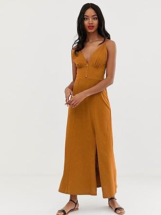 9774ad3eb20 Asos ASOS Design - Robe longue en tissu flammé à surpiqûres et boutons -  Orange
