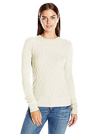 Sag Harbor Womens Long Sleeve Crew Neck Cable Front Pullover, Ivory, L