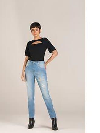 Lebôh Calça Straight Cos Intermediario Com Puidos Jeans 34