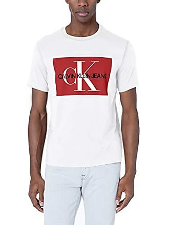 03dfba261207 Calvin Klein Mens Short Sleeve Monogram Logo T-Shirts, Pure White, Small