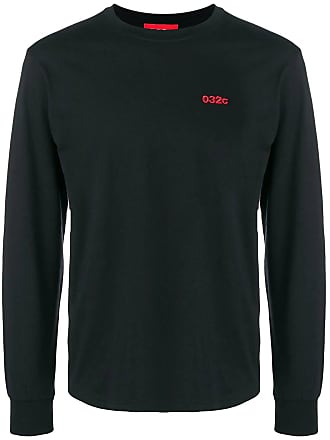 032c Black Mens Embroidered Logo Long Sleeve T-shirt - The Webster