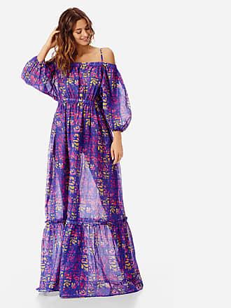 Vilebrequin Women Ready to Wear - Women Off-the-shoulder cotton voile long Dress Phuket - DRESS - FLORINE - Blue - XXS - Vilebrequin