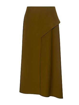 Tibi Asymmetric Twill Draped Midi Skirt Loden