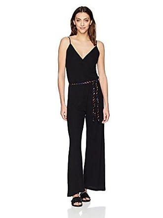 Only Hearts Womens Feather Weight Rib Wrap Jumpsuit, Black, Medium