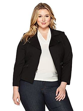 Kasper Womens Plus Size Compression Ponte Zipper Front Jacket, Black, 24W
