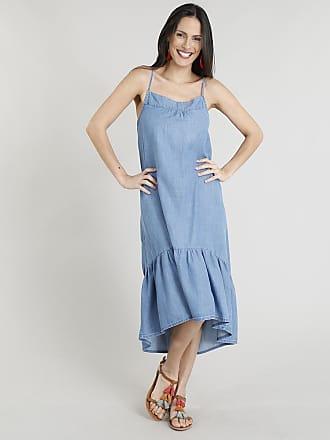 bbf483c65f C A Vestido Jeans Feminino Midi com Babado Alças Finas Decote Redondo Azul  Claro