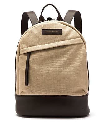 Want Les Essentiels Kastrup Cotton Canvas And Leather Backpack - Mens - Beige