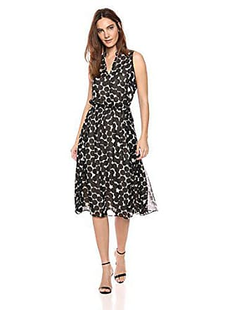 Anne Klein Womens Drawstring Midi Dress, Black/Oyster Shell, XL