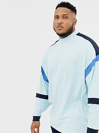 Asos Plus oversized longline long sleeve t-shirt with turtleneck and color block in blue - Blue