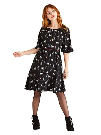 04110c8f10e0e Yumi Swan and Flower Printed Skater Dress Black