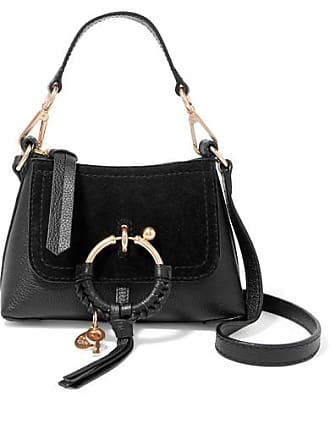 See By Chloé Joan Mini Suede-paneled Textured-leather Shoulder Bag - Black