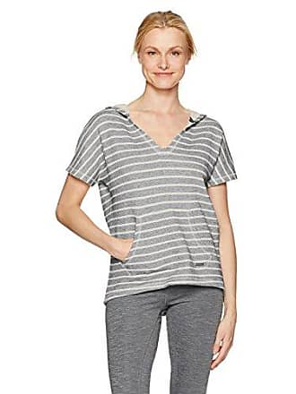 Andrew Marc Womens Striped Hooded S/s Pullover, Midnight/Ivory, M