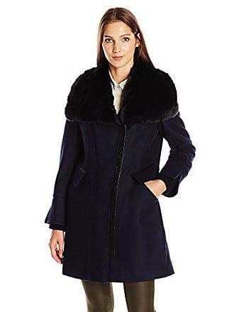 Via Spiga Womens Asymmetric Wool Coat with Faux Fur Collar, Midnight, 2