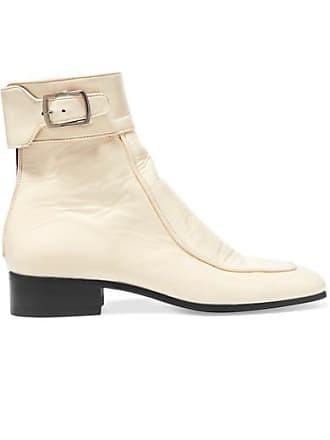 Saint Laurent Miles Patent-leather Ankle Boots - Cream
