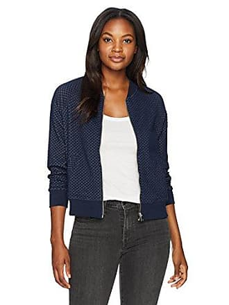Ruby Rd. Womens Zip-Front Faux Quilted Knit Jacket, Navy/Winter White Large