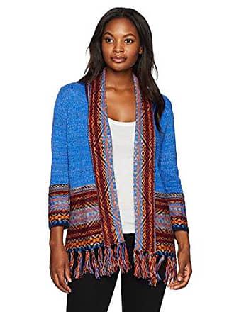 Ruby Rd. Womens Jacquard Border Sweater Cardigan with Fringe Hem, Ultramarine Multi, Medium