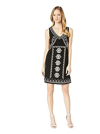 Tribal Jersey Sleeveless Dress w/ Embroidery (Black) Womens Dress