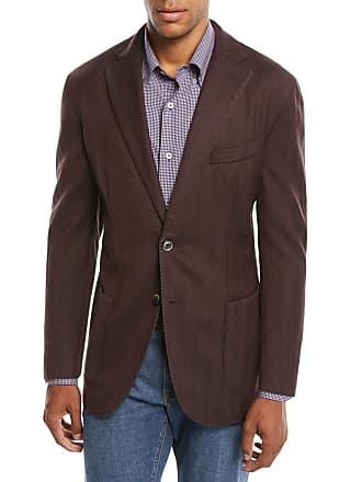 Neiman Marcus Mens Herringbone Two-Button Wool Jacket