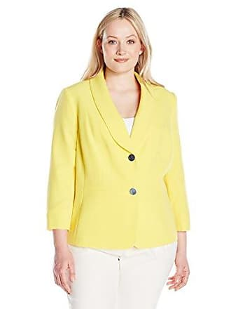 Kasper Womens Plus Size 2 Button Shawl Collar Jacket W/Seaming, Lemon Grass 24W