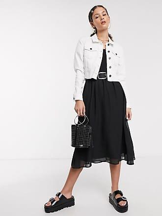 Noisy May Giacca di jeans corta con fondo grezzo bianca-Bianco