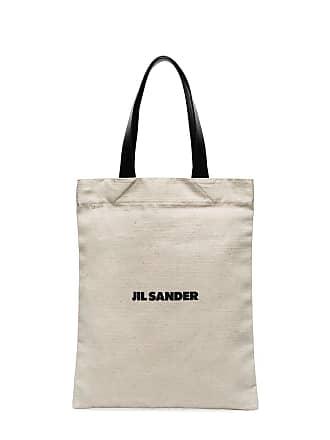 Jil Sander medium logo-printed shopper top - White