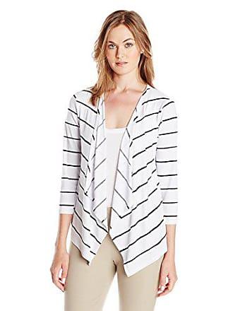 Jones New York Womens Striped Open-Front Cardigan Sweater, White/Black, Large