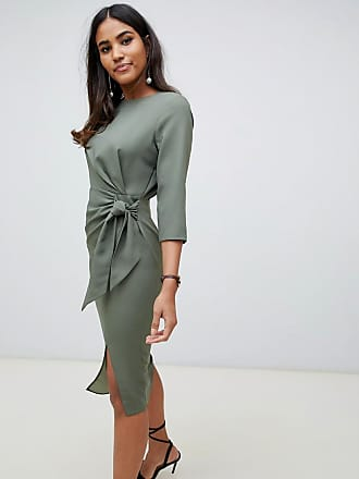 e7c95ed5814 Asos wrap detail midi dress with long sleeves - Green